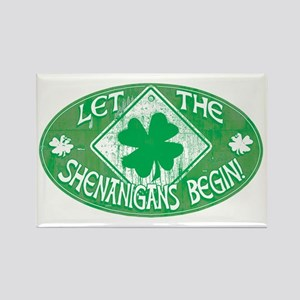Shenanigans Begin Green Rectangle Magnet