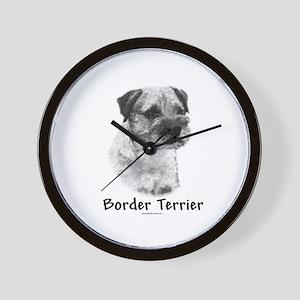 Border Terrier Charcoal Wall Clock