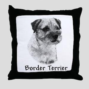 Border Terrier Charcoal Throw Pillow