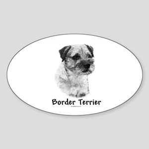 Border Terrier Charcoal Oval Sticker