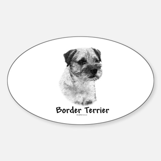 Border Terrier Charcoal Oval Decal