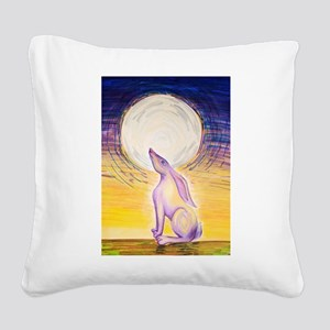 Moon Gazing Hare Square Canvas Pillow