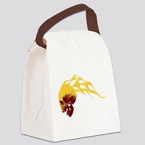Skull on Fire Canvas Lunch Bag