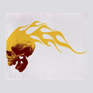 Skull on Fire Throw Blanket