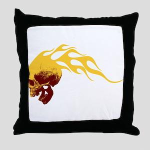 Skull on Fire Throw Pillow