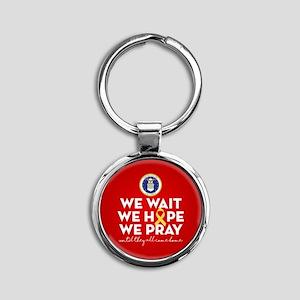 USAF We Wait Hope Pray Round Keychain