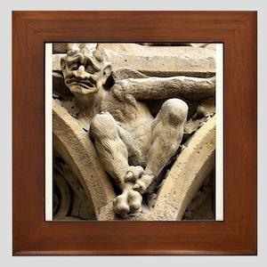 Notre Dame bestiary in Paris, France Framed Tile