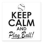 Keep Calm Play Ball Square Car Magnet 3