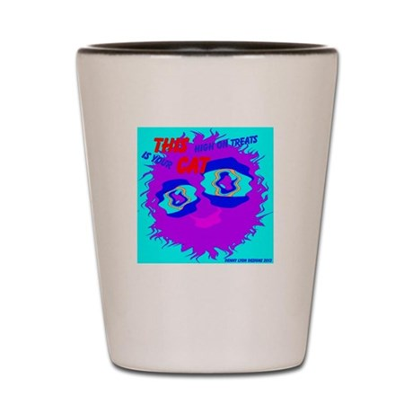 Monster Cat High on Treats Shot Glass