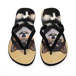 Shiba Inu (Black and Tan) Flip Flops