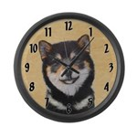 Shiba Inu (Black and Tan) Large Wall Clock