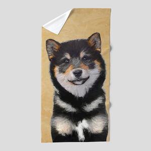 Shiba Inu (Black and Tan) Beach Towel