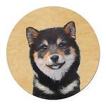 Shiba Inu (Black and Tan) Round Car Magnet