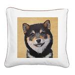 Shiba Inu (Black and Tan) Square Canvas Pillow