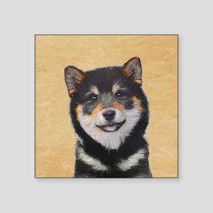 "Shiba Inu (Black and Tan) Square Sticker 3"" x 3"""