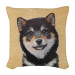 Shiba Inu (Black and Tan) Woven Throw Pillow