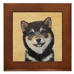 Shiba Inu (Black and Tan) Framed Tile