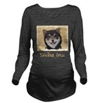 Shiba Inu (Black and Long Sleeve Maternity T-Shirt