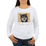 Shiba Inu (Black and T Women's Long Sleeve T-Shirt