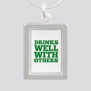 Drinks Well With Others Silver Portrait Necklace