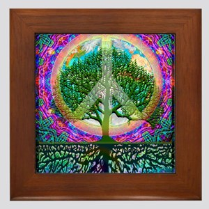Tree of Life World Peace Framed Tile