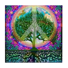 Tree of Life World Peace Tile Coaster