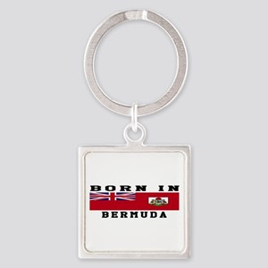 Born In Bermuda Square Keychain