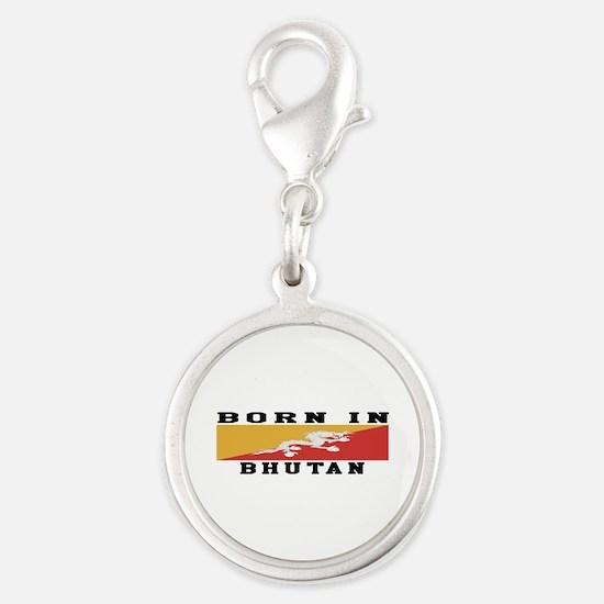 Born In Bhutan Silver Round Charm