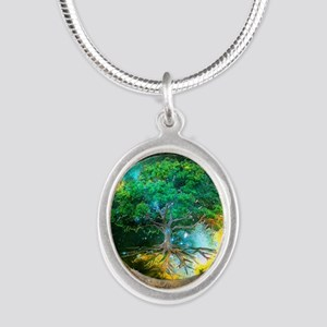 Health Healing Silver Oval Necklace