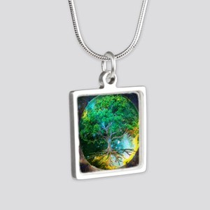 Health Healing Silver Square Necklace