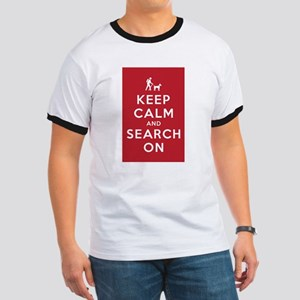 Keep Calm and Search On (Dog Team) Ringer T