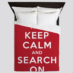 Keep Calm and Search On (Dog Team) Queen Duvet