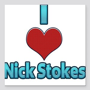 "I heart Nick Stokes Square Car Magnet 3"" x 3"""