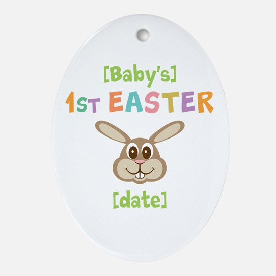 PERSONALIZE 1st Easter Bunny Ornament (Oval)