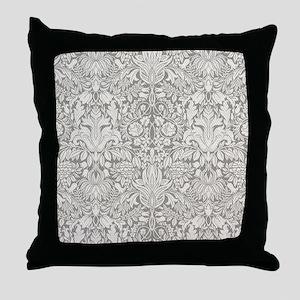 White Damask Throw Pillow