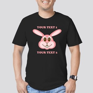 PERSONALIZE Pink Bunny Men's Fitted T-Shirt (dark)