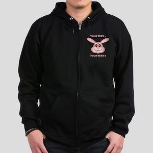 PERSONALIZE Pink Bunny Zip Hoodie (dark)