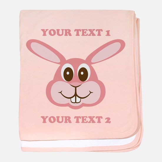 PERSONALIZE Pink Bunny baby blanket