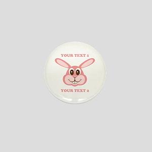 PERSONALIZE Pink Bunny Mini Button