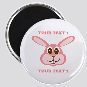 PERSONALIZE Pink Bunny Magnet