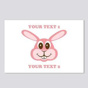PERSONALIZE Pink Bunny Postcards (Package of 8)