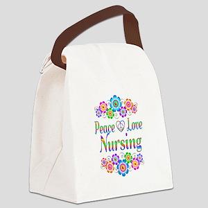 Peace Love Nursing Flowers Canvas Lunch Bag