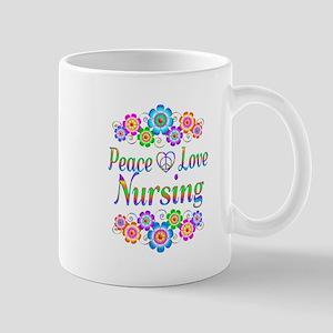 Peace Love Nursing Flowers 11 oz Ceramic Mug