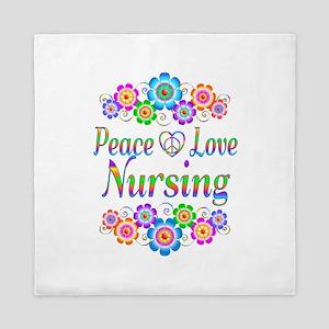 Peace Love Nursing Flowers Queen Duvet