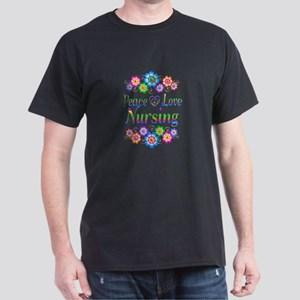Peace Love Nursing Flowers Dark T-Shirt
