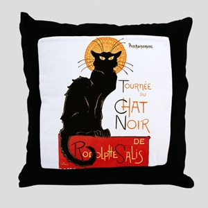 Tournee du Chat Steinlen Black Cat Throw Pillow