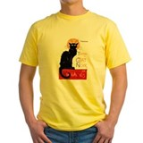 Black cat Mens Classic Yellow T-Shirts