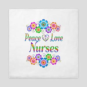 Peace Love Nurses Queen Duvet