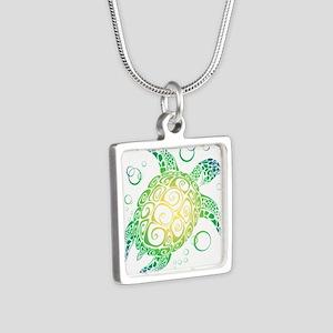 Sea Turtle Silver Square Necklace