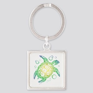 Sea Turtle Square Keychain
